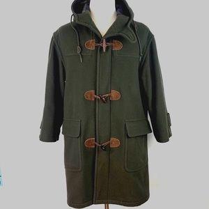 VTG LL Bean Wool Plaid Lining Duffle Toggle Coat